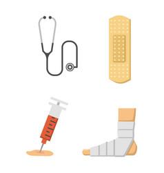 Medical icons set care ambulance hospital vector
