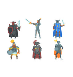 medieval knights with swords set ancient warriors vector image
