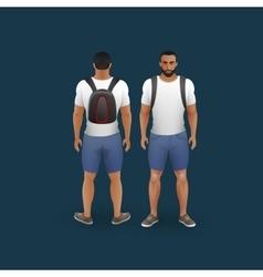 Men wearing shorts and t-shirt vector