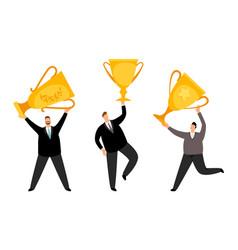 men winners businessmen flat characters vector image
