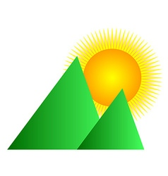 Mountain sunrise logo vector image