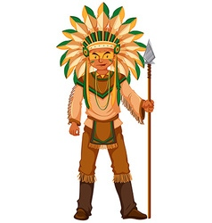 Native American Indian holding spear vector