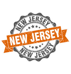 new jersey round ribbon seal vector image vector image