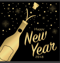 new year card with champagne vector image