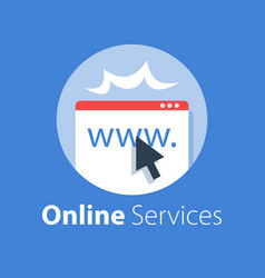 Online services web page and cursor vector