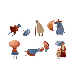 People characters walking in windy rainy day vector