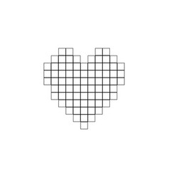 Pixel heart flat icon vector