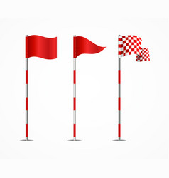 Realistic 3d detailed golf flag set vector