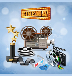Realistic cinema background vector