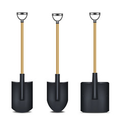 realistic detailed 3d black blank shovel template vector image