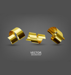 realistic with three gold confetti vector image