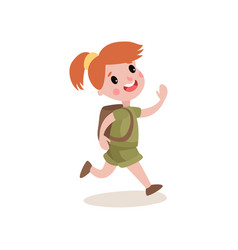 red-haired girl scout running with cheerful face vector image