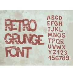 Retro grunge font with alphabet vintage vector
