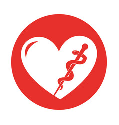 Round icon heart caduceus vector
