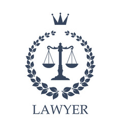 scales of justice emblem for law firm design vector image