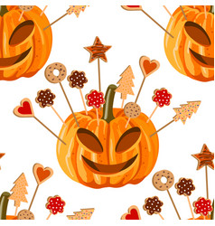 seamless pattern with pumpkins and biscuits vector image