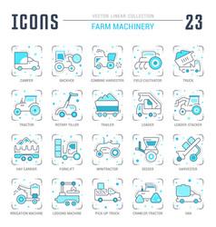 Set blue line icons farm machinery vector
