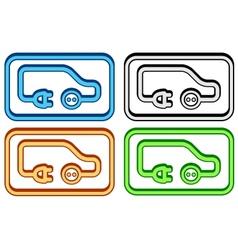 set electric car icon vector image