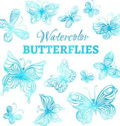 Set of watercolor butterflies vector