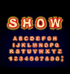 Show font glowing lamp letters retro alphabet vector