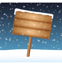 Sign on snow meadow with falling snow vector image