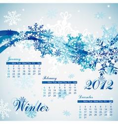snowflake winter calendar 2012 vector image