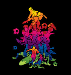 soccer team composition soccer player action vector image
