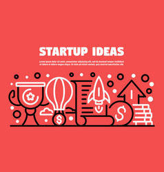 Startup ideas banner outline style vector