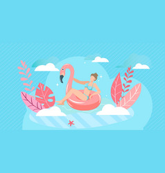 summer vacation swimming girl sea travel vector image