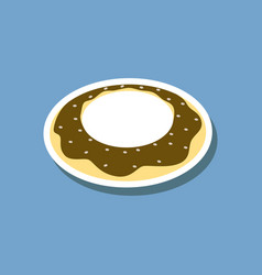 sweet dessert in paper sticker donut vector image