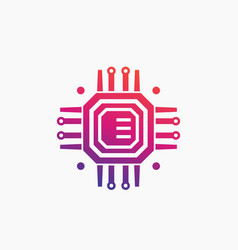technology chipset circuit board icon vector image