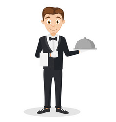 the waiter man in a suit holding a tray on a white vector image