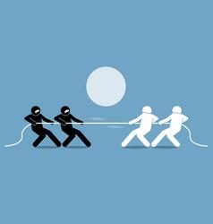 tug of war artwork depicts power struggle vector image