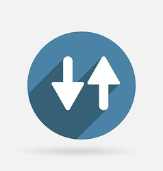 Two arrow up sign Circle blue icon with shadow vector