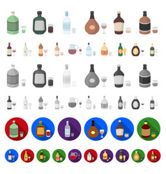 types of alcohol cartoon icons in set collection vector image