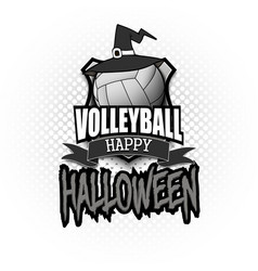 Volleyball ball with witch hat and happy hallowen vector