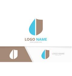 water and shield logo combination unique oil drop vector image