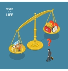 Work for life isometric flat vector image