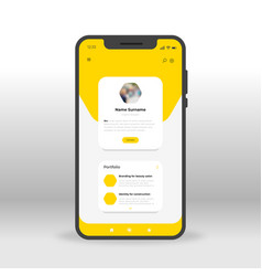 Yellow portfolio page ui ux gui screen for mobile vector