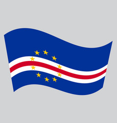 flag of cape verde waving on gray background vector image vector image