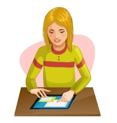 Girl working or playing with digital tablet eps10 vector image vector image