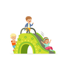 little kids two boys and girl playing on colorful vector image