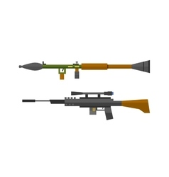 Machine gun sniper rifle set vector image vector image