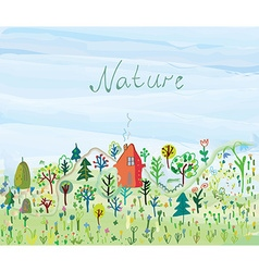 Nature background with trees and grass for tourism vector image vector image