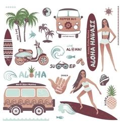 Set of vintage style Hawaiian summer icons surf vector image vector image