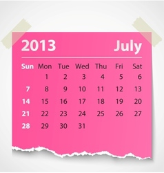2013 calendar july colorful torn paper vector image
