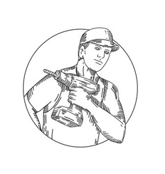 handyman-cordless-drill-circ-mline vector image vector image