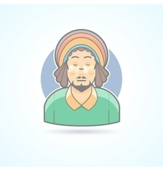 Rastafarian man hippie guy with dreadlocks icon vector image