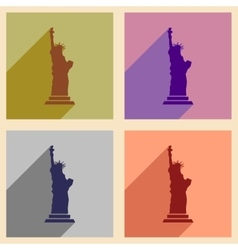 Set of flat icons with long shadow statue of vector
