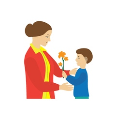 Son gives to mother flowers Mothers Day vector image vector image